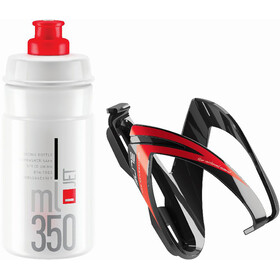 Elite Ceo Drinking Bottle Kit with Mount 350ml black glossy/red graphic/clear logo red